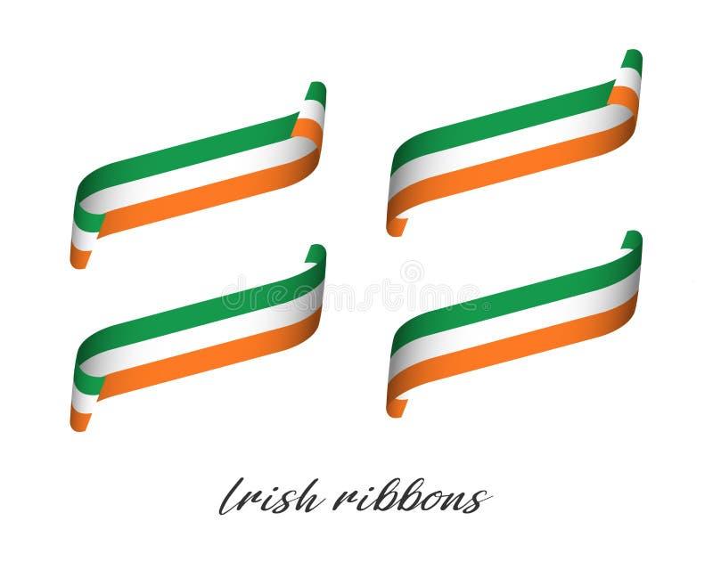 Grupo de quatro fitas coloridas modernas do vetor com tricolor irlandês ilustração royalty free