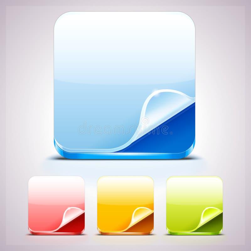 Grupo de quatro fundos dos ícones do App com canto da onda ilustração royalty free