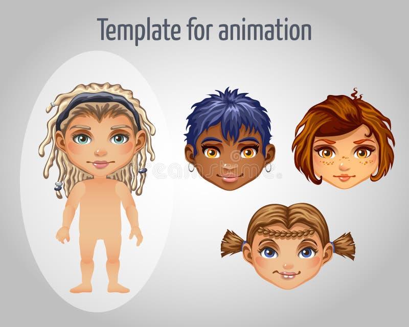 Grupo de quatro imagens das meninas para a animação ilustração royalty free