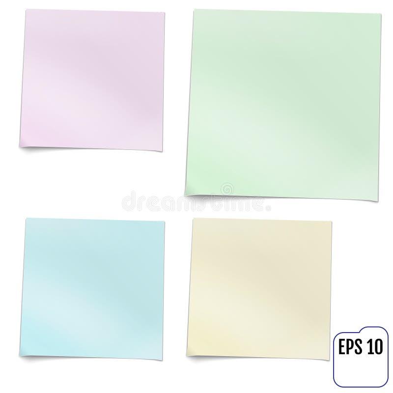 Grupo de quatro notas pegajosas coloridas Ilustração realística do vetor ilustração stock