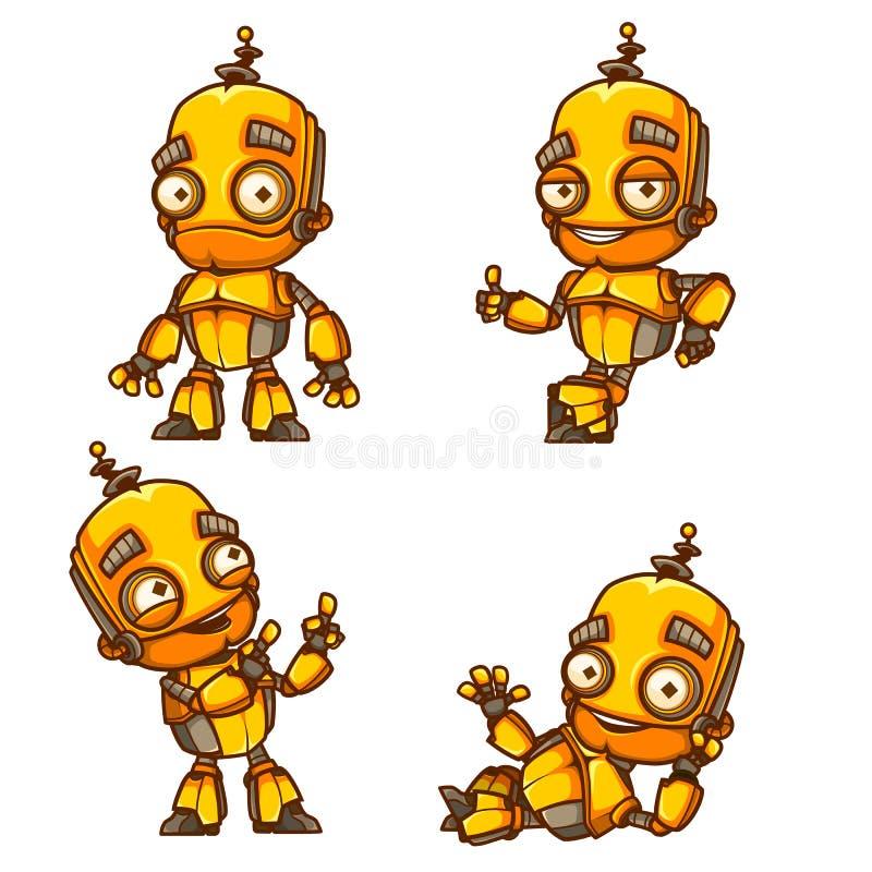 Grupo de quatro poses do robô ilustração royalty free