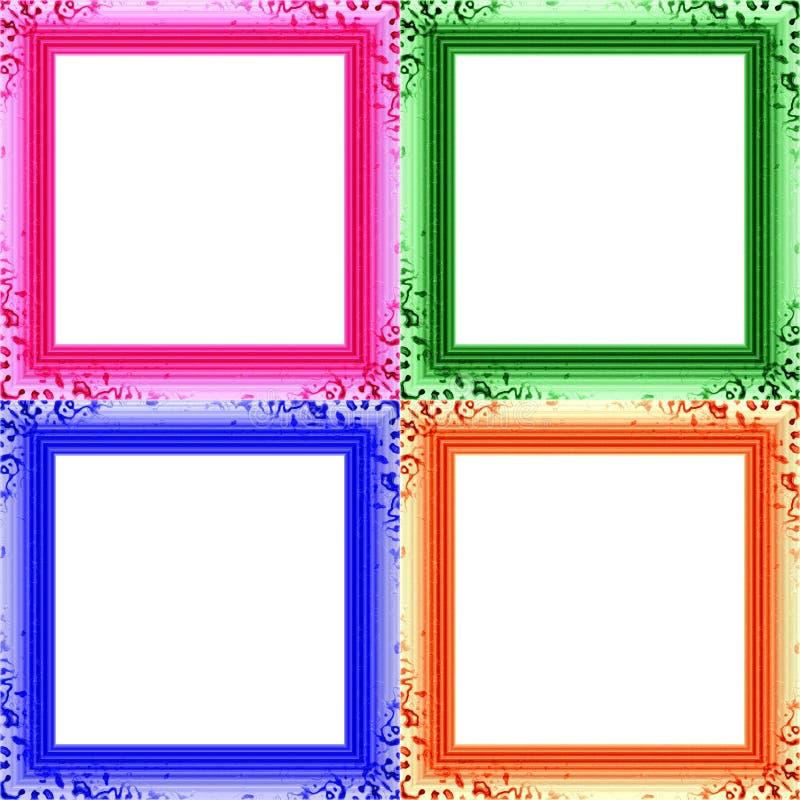 Grupo de quatro quadros claros decorativos coloridos da foto ilustração royalty free