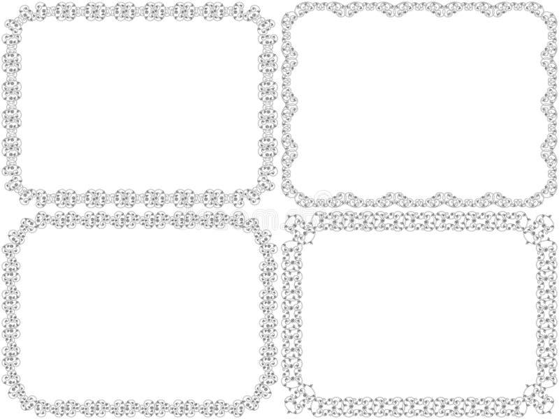 Grupo de quatro quadros decorativos ilustração stock