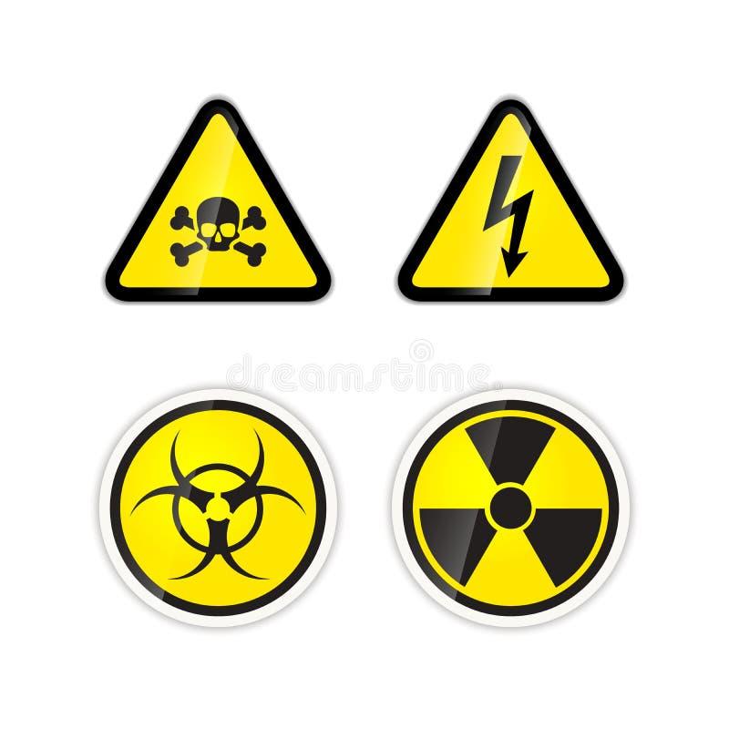 Grupo de quatro sinais de avisos para a alta tensão, a radiação, o biohazard e o veneno ilustração do vetor