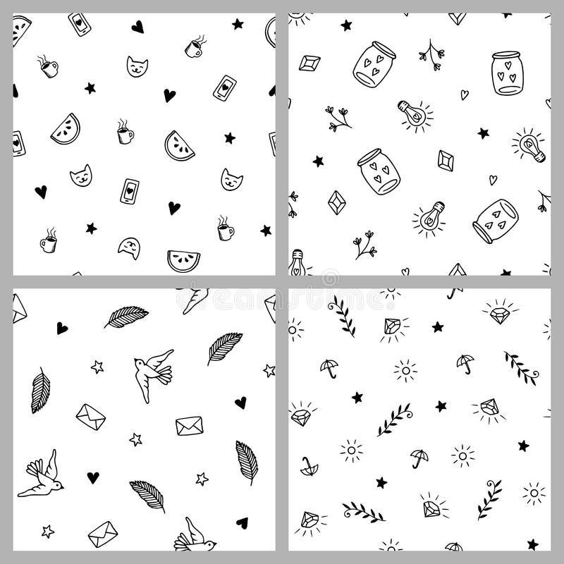 Grupo de quatro testes padrões minimalistic tirados mão ilustração stock