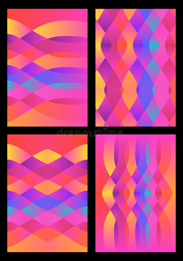 Grupo de quatro testes padrões ondulados multicoloridos brilhantes Ilustração do vetor do inclinação ilustração stock