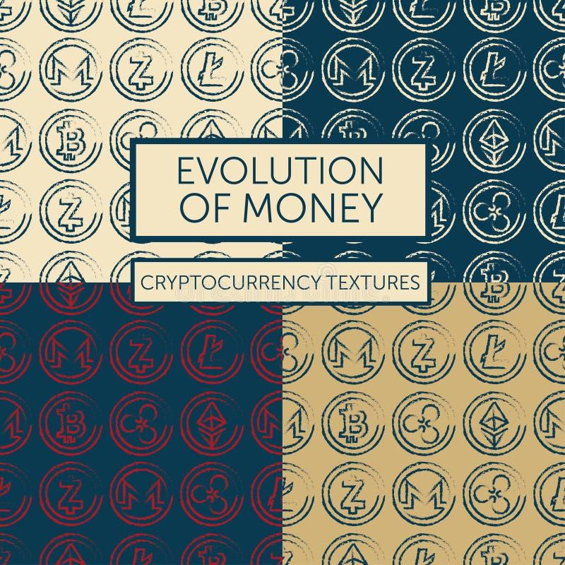 Grupo de quatro testes padrões sem emenda com logotypes do cryptocurrency ilustração stock