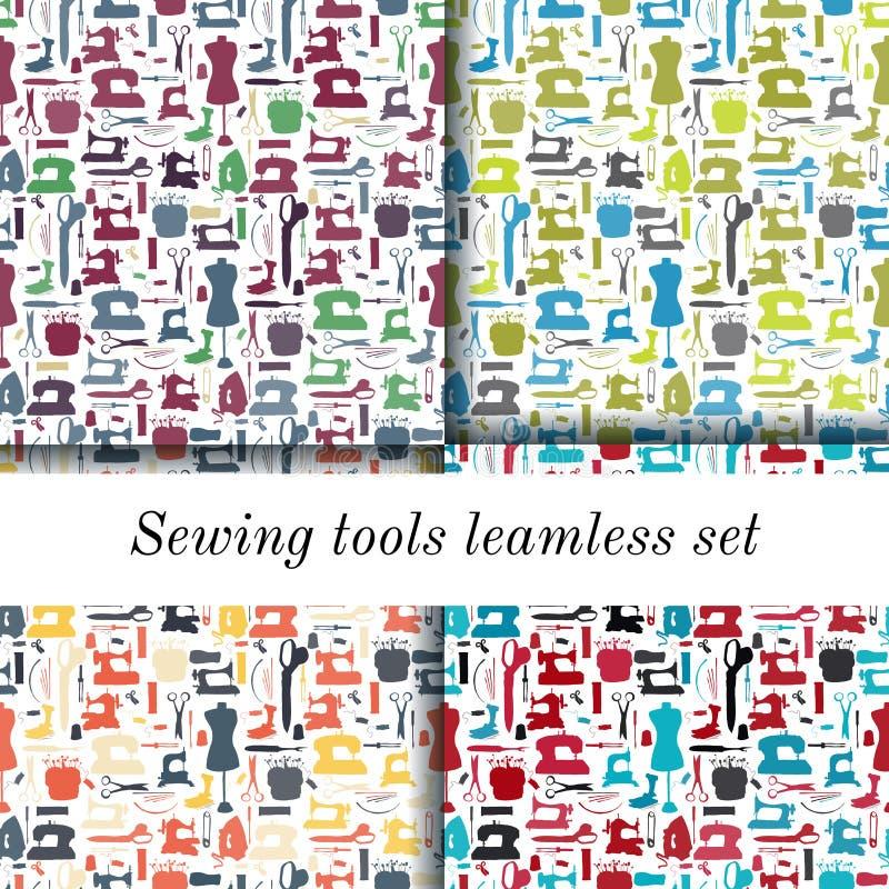 Grupo de quatro testes padrões sem emenda das ferramentas da costura ilustração stock