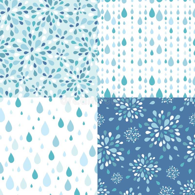 Grupo de quatro testes padrões sem emenda dos pingos de chuva ilustração stock