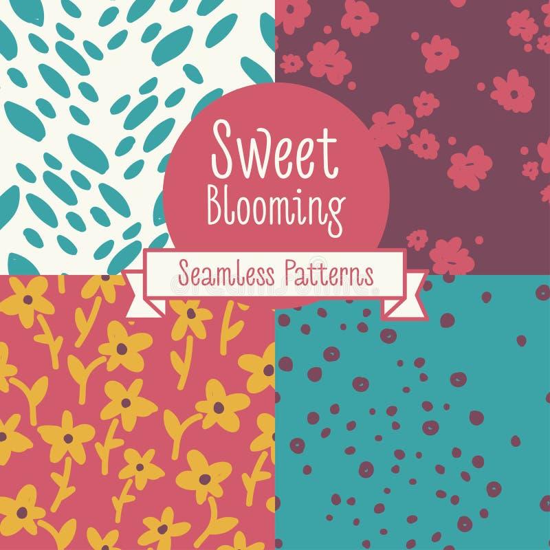 Grupo de quatro testes padrões sem emenda florais ilustração royalty free