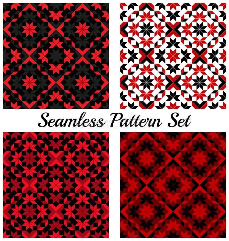 Grupo de quatro testes padrões sem emenda geométricos à moda com formas diferentes de máscaras vermelhas, pretas, cinzentas e bra ilustração royalty free