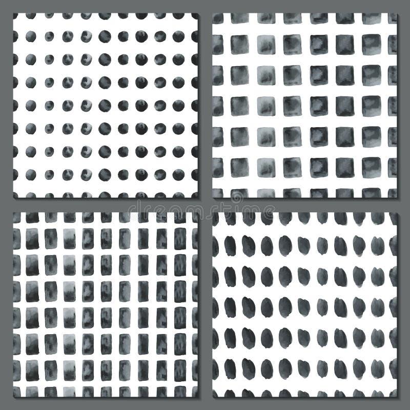 Grupo de quatro testes padrões simples da aquarela ilustração stock