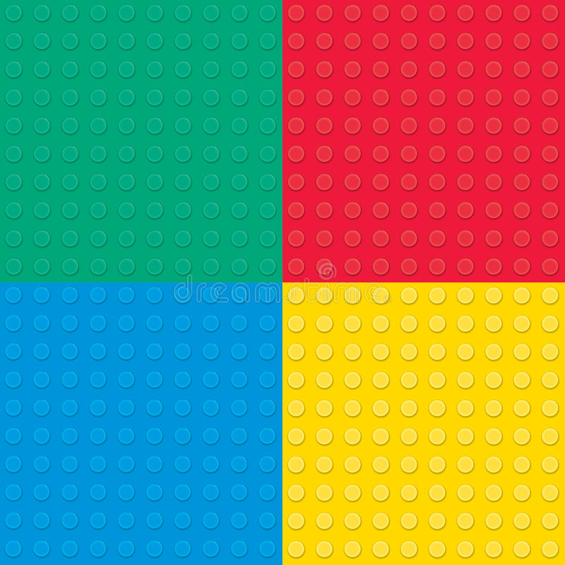 Grupo de quatro tijolos de construção do brinquedo Teste padrão sem emenda ilustração stock