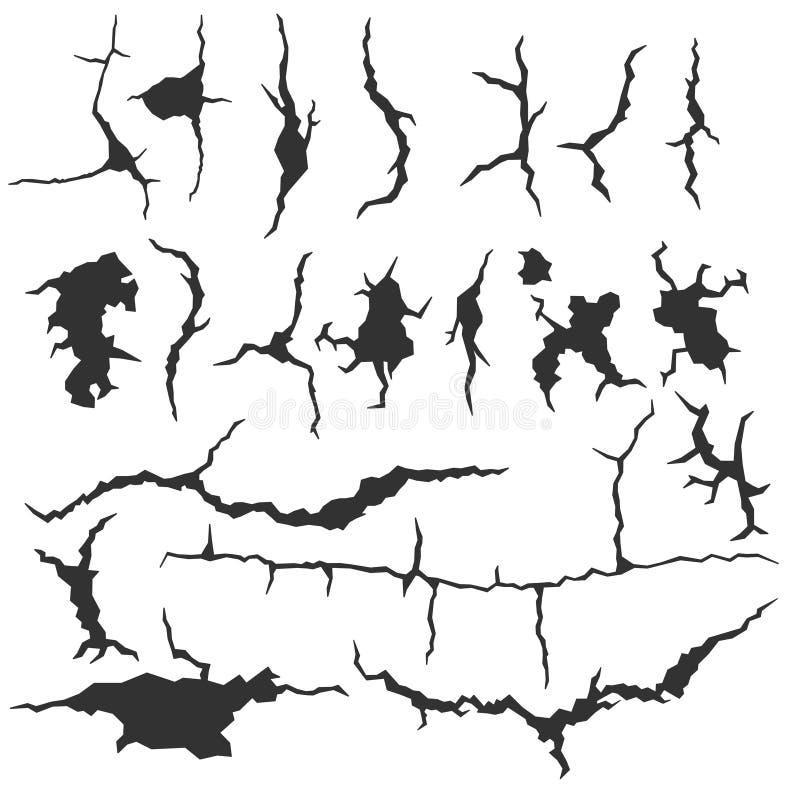Grupo de quebras escuras da parede isoladas no fundo branco Fratura realística na parede Ilustração quebrada fenda do colapso ilustração stock