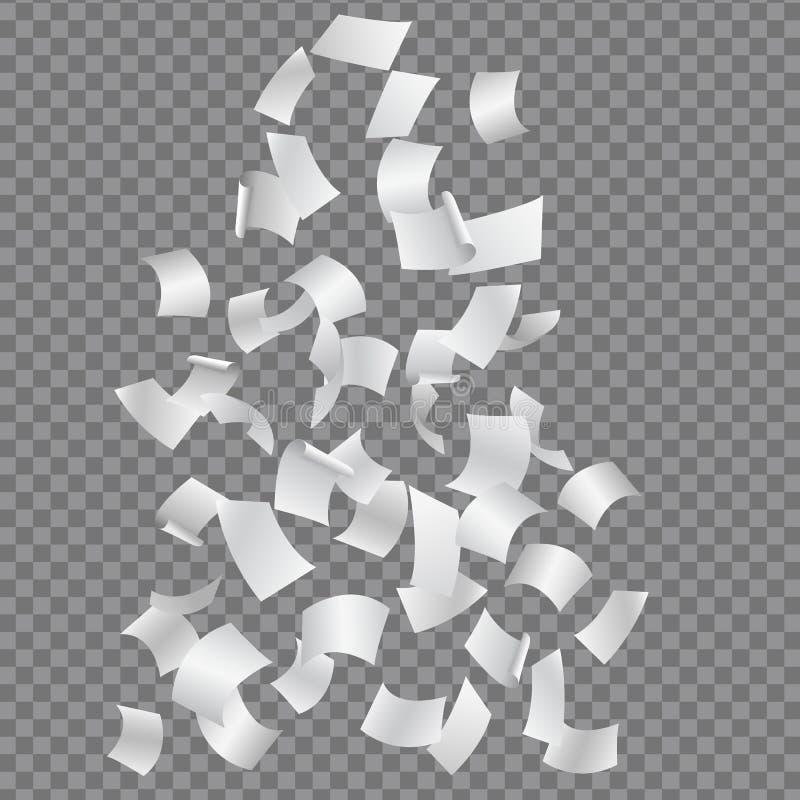 Grupo de queda ou de voar as folhas curvadas do papel, isoladas em um t ilustração stock