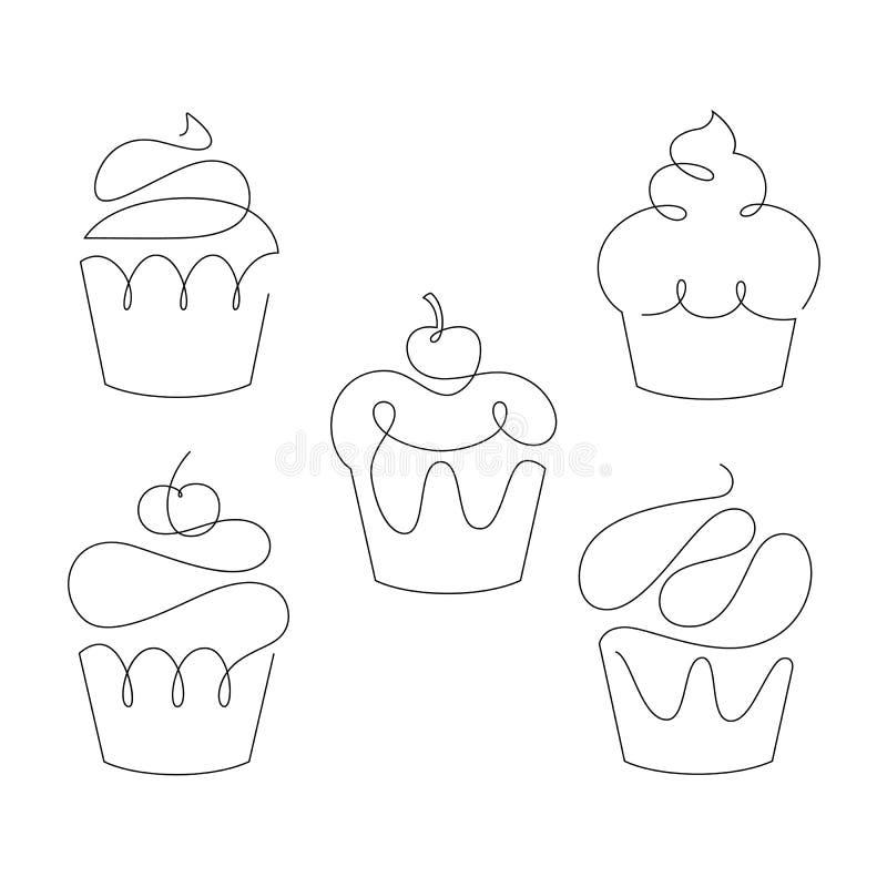 Grupo de queques na uma linha estilo na moda Vetor ilustração royalty free