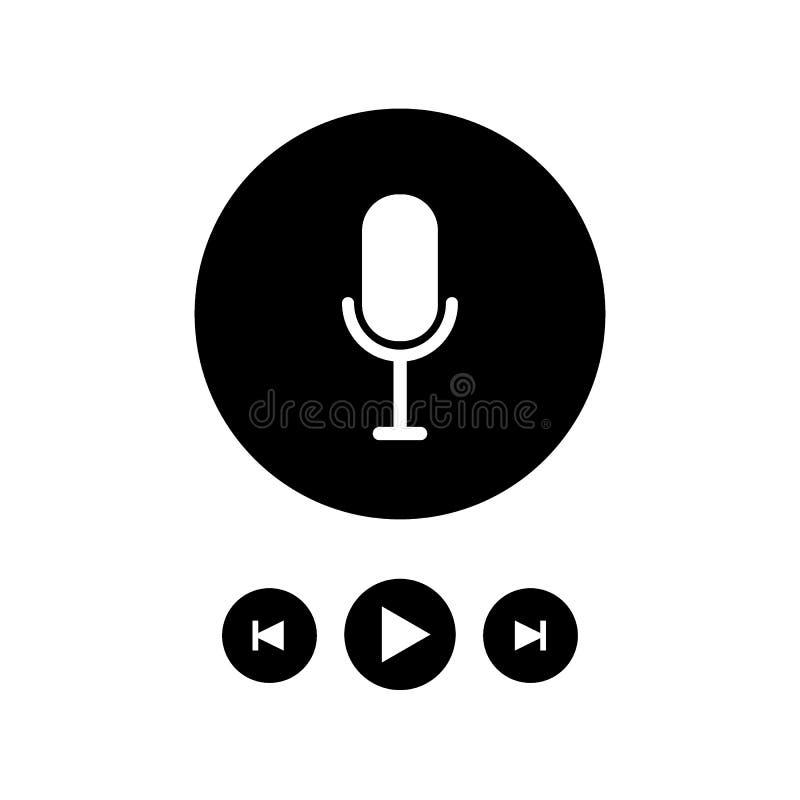Grupo de rádio da ilustração do ícone do Podcast Microfone da tabela do estúdio com texto da transmissão no ar Logotipo audio do  ilustração stock