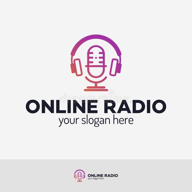 Grupo de rádio em linha do logotipo ilustração do vetor