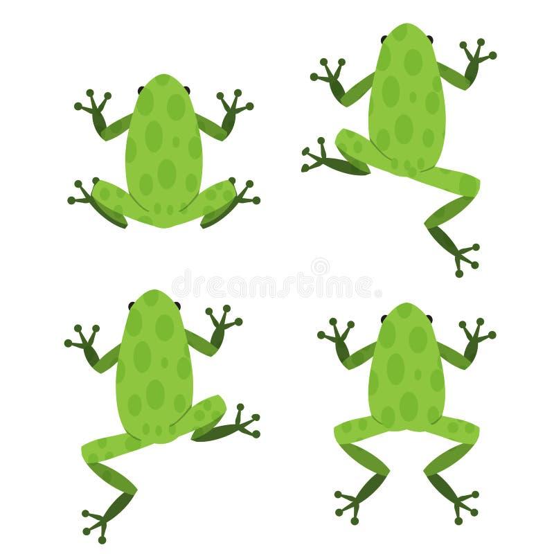 Grupo de rã verde no estilo liso com teste padrão ilustração royalty free