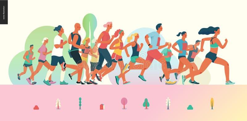Grupo de raça da maratona ilustração royalty free