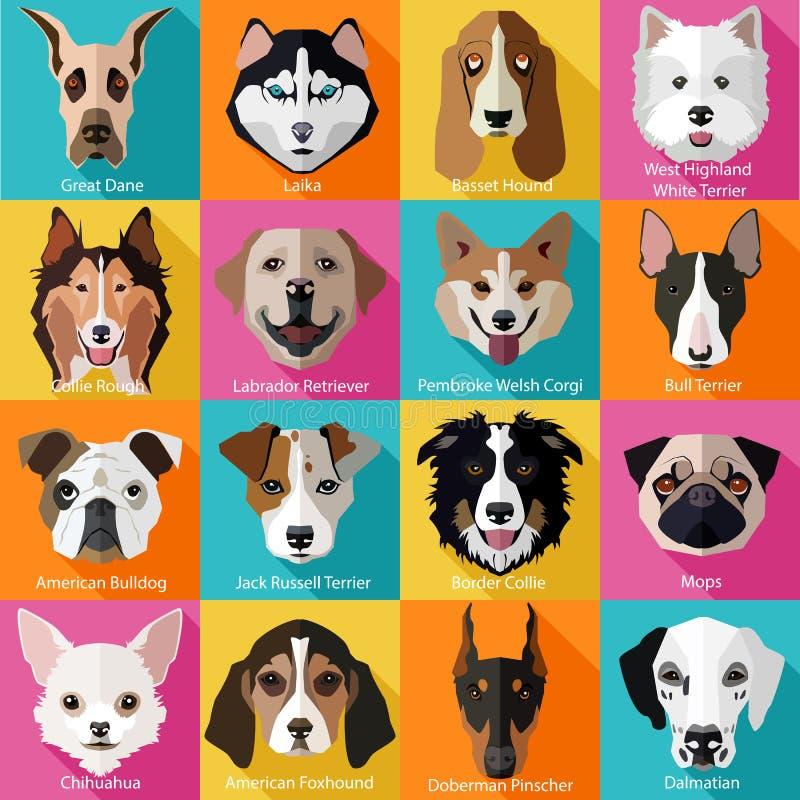 Grupo de raças populares lisas de ícones dos cães ilustração do vetor