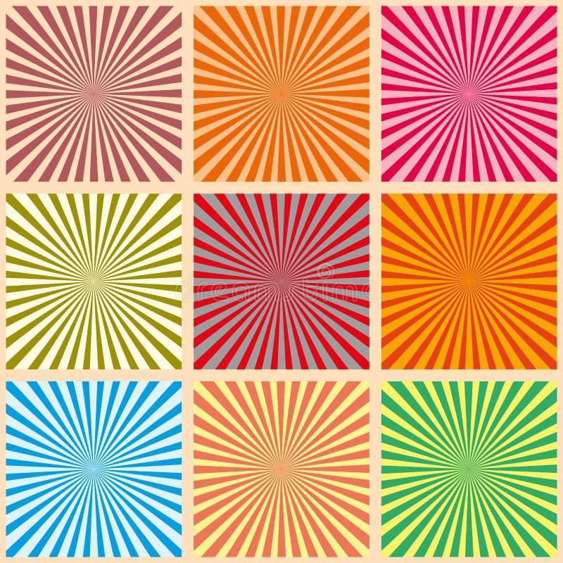 Grupo de raios coloridos Ilustração do vetor Fundo retro do sunburst Elemento do projeto do Grunge Contexto preto e branco Bom pa ilustração royalty free