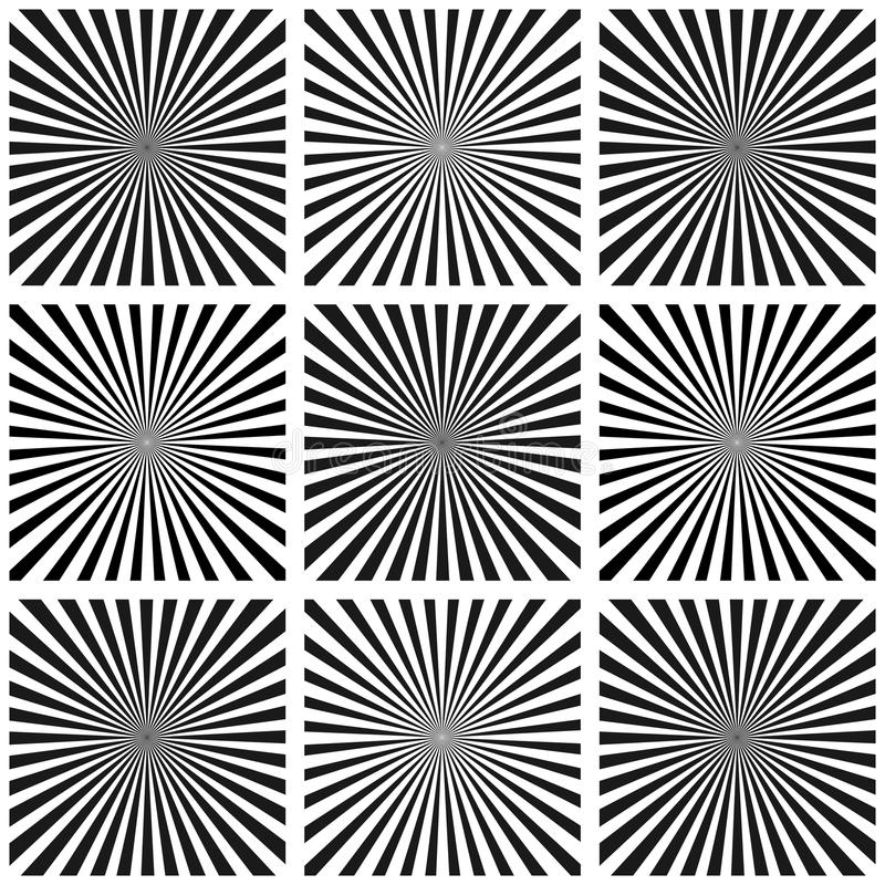 Grupo de raios da ilusão Ilustração do vetor Fundo retro do sunburst Elemento do projeto do Grunge Contexto preto e branco Bom pa ilustração stock