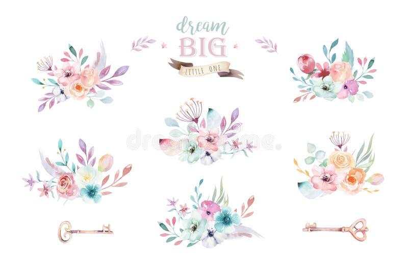 Grupo de ramalhetes florais do boho da aquarela Quadro natural boêmio do Watercolour: folhas, penas, flores, isoladas no branco ilustração stock