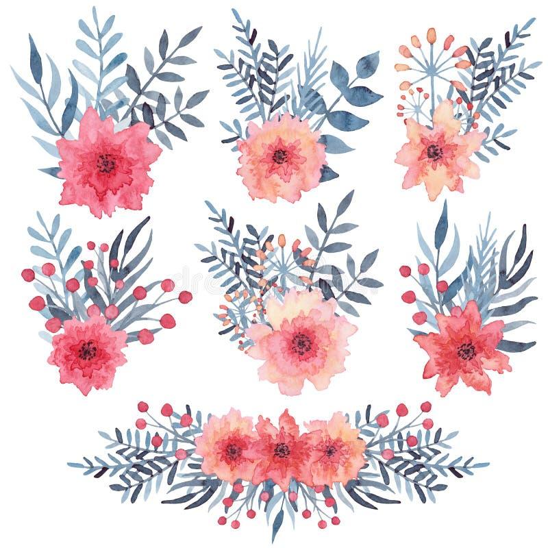 Grupo de ramalhetes simples da aquarela com flores e as folhas vermelhas do azul ilustração stock