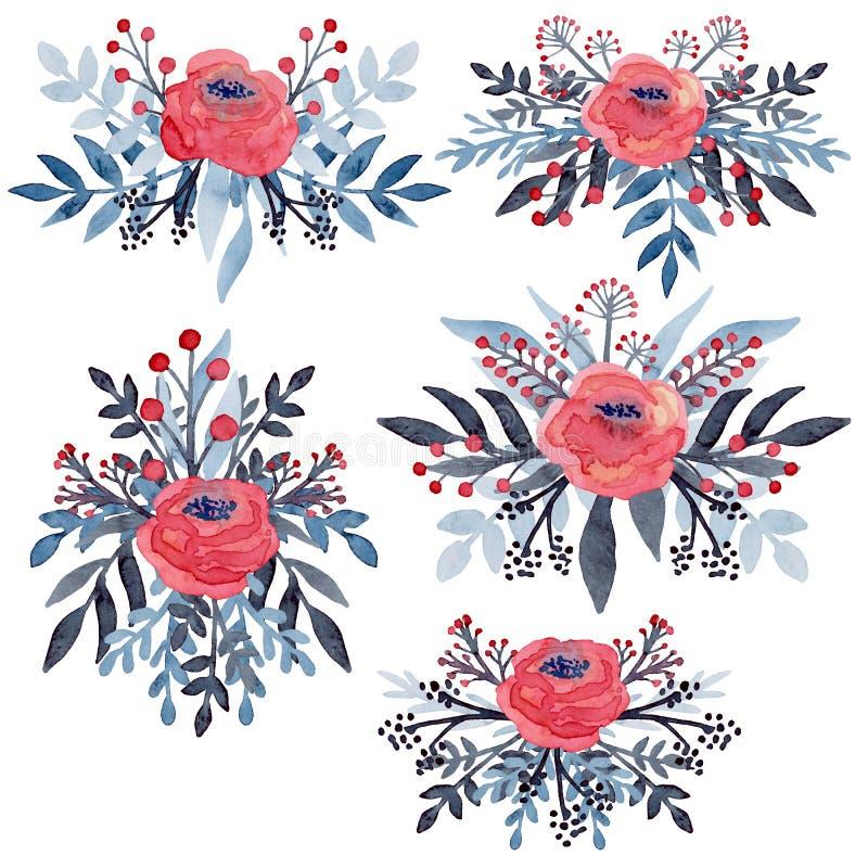 Grupo de ramalhetes simples da aquarela com rosas vermelhas ilustração royalty free