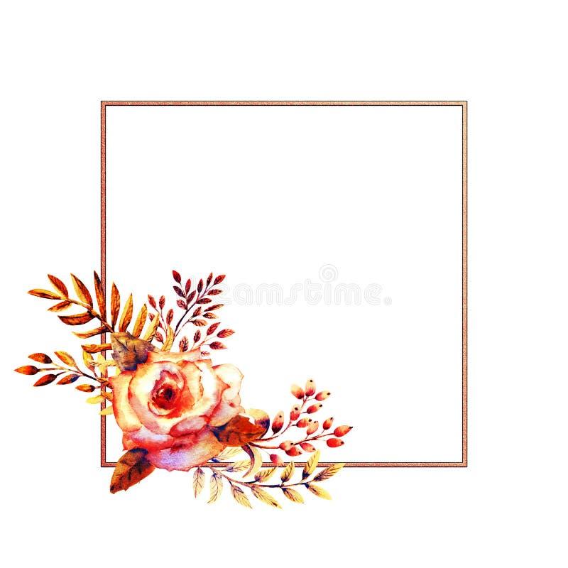 Grupo de ramos da flor O rosa aumentou flor, folhas verdes, vermelhas Conceito do casamento com flores Cartaz floral, convite wat ilustração do vetor