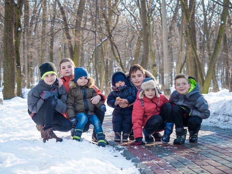 Grupo de rapazes pequenos bonitos que levantam para a câmera no parque do inverno foto de stock