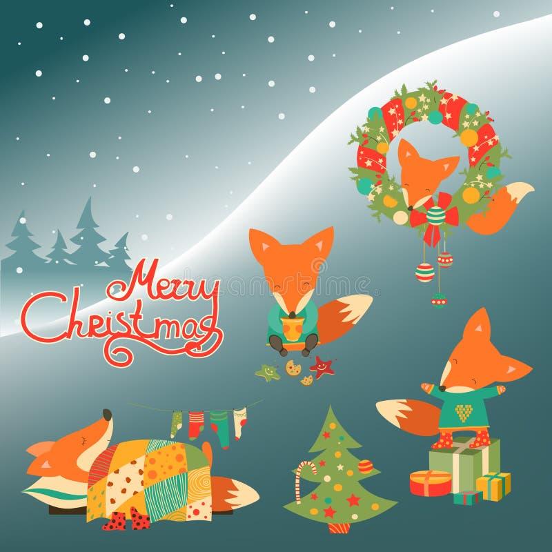 Grupo de raposa bonito ilustração stock