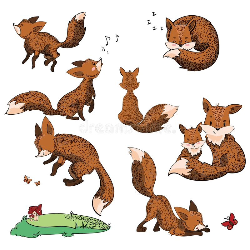 Grupo de raposas dos desenhos animados Coleção de raposas bonitos Ilustração do vetor para crianças Animais selvagens ilustração stock