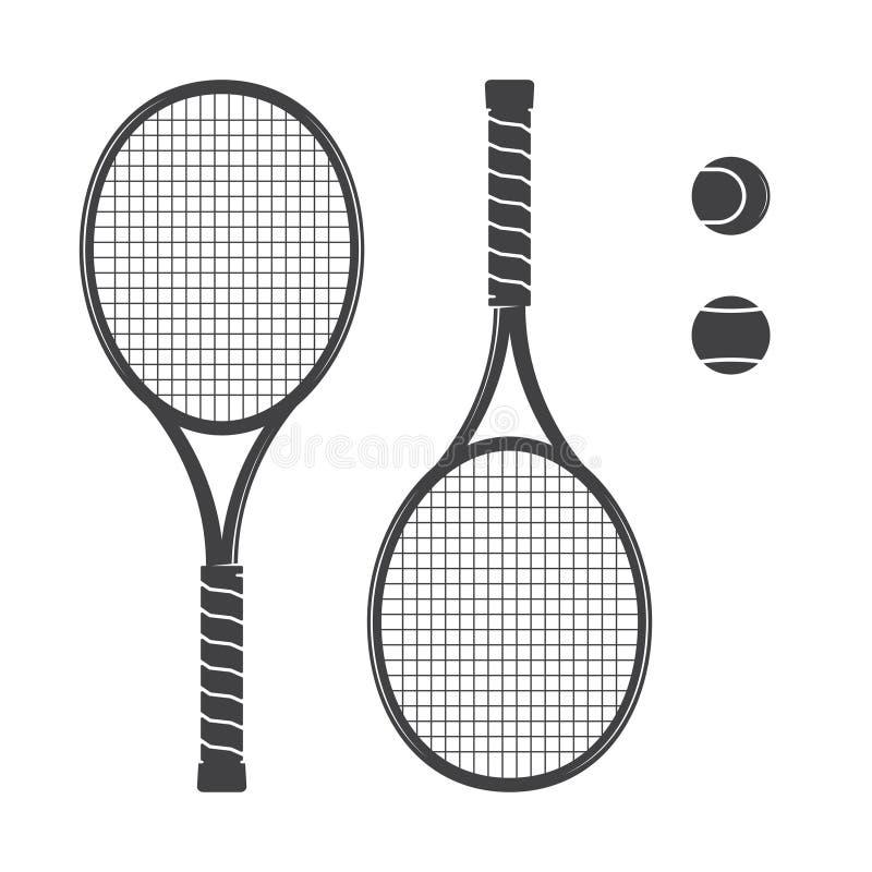 Grupo de raquetes de tênis e de bolas de tênis ilustração royalty free