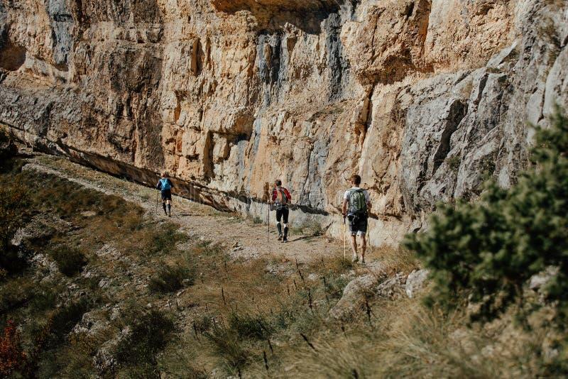 grupo de rastro que camina de los escaladores de los turistas imagen de archivo