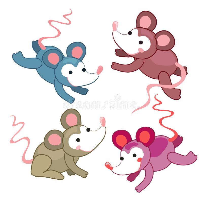 Grupo de rato bonito em cores diferentes Atitude positiva Rato do vetor da tração da mão Pode ser usado como um símbolo, emblema ilustração royalty free