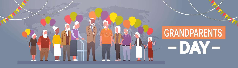 Grupo de raza feliz de la mezcla de la bandera de la tarjeta de felicitación del día de los abuelos de celebración mayor de la ge libre illustration