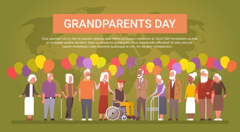 Grupo de raza feliz de la mezcla de la bandera de la tarjeta de felicitación del día de los abuelos de gente mayor sobre mapa del ilustración del vector