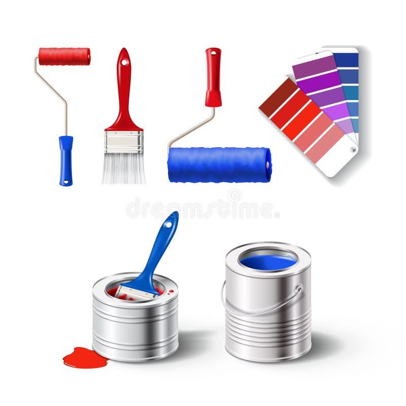 Grupo de Realistick de ferramentas da pintura ilustração stock