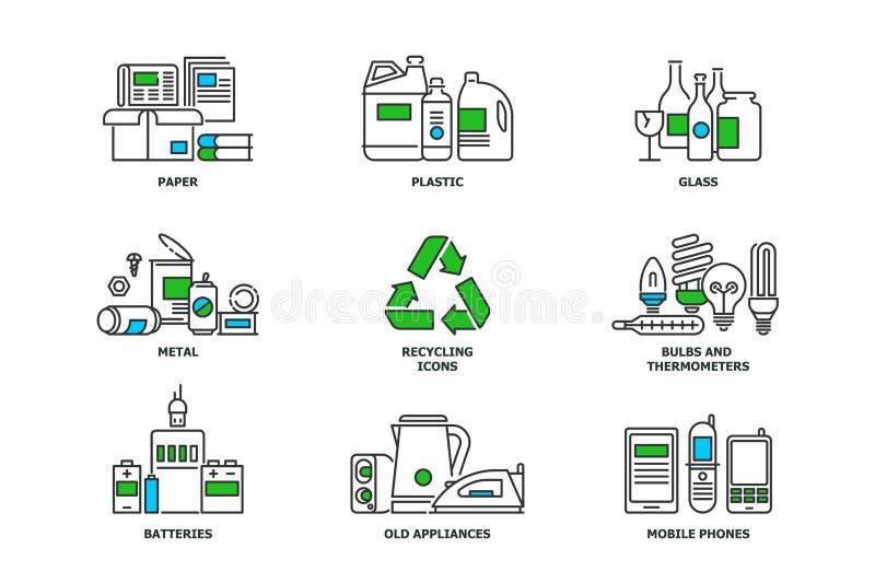 Grupo de reciclar ícones na linha projeto Recicle ilustrações lisas do vetor Papelada, metal, plástico, vidro, bulbos, e ilustração stock