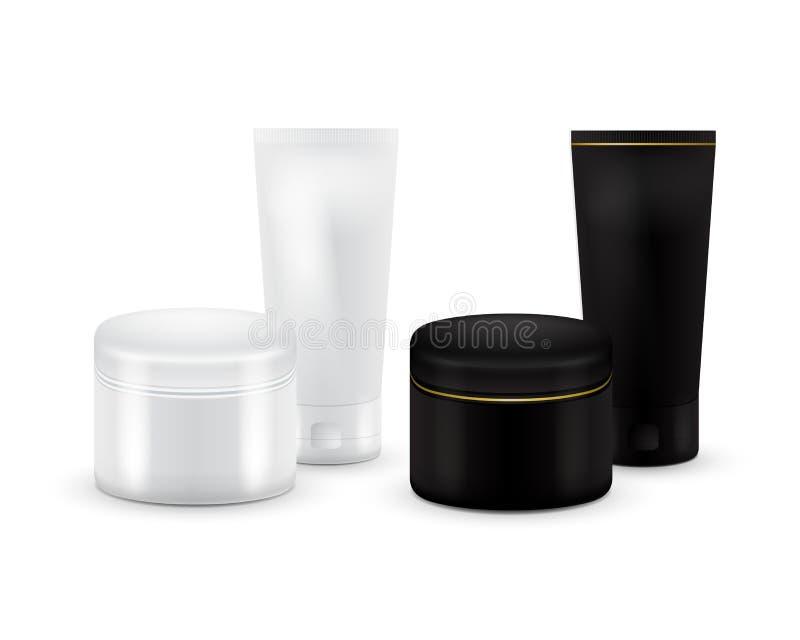 Grupo de recipiente cosmético da placa do vetor para o creme, o pó ou o gel Cor preto e branco Recipiente cosmético Zombaria acim ilustração stock