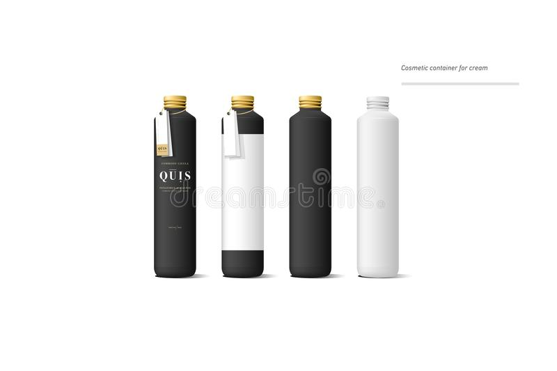 Grupo de recipiente de creme cosmético preto realístico Zombaria acima da garrafa Gel, pó, bálsamo e óleo, com etiqueta dourada d ilustração royalty free