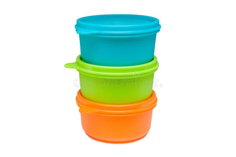 Grupo de recipiente de alimento plástico brilhante isolado imagens de stock royalty free