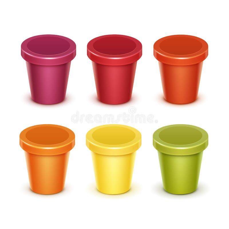 Grupo de recipiente plástico colorido do alimento vazio para o iogurte da sobremesa ilustração do vetor