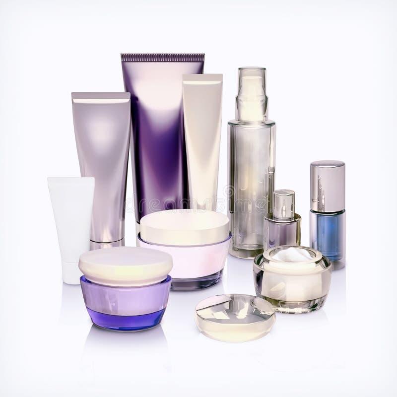 Grupo de recipientes cosméticos Recipientes cosméticos isolados fotos de stock