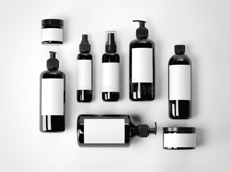 Grupo de recipientes plásticos cosméticos da beleza preta rendição 3d ilustração stock