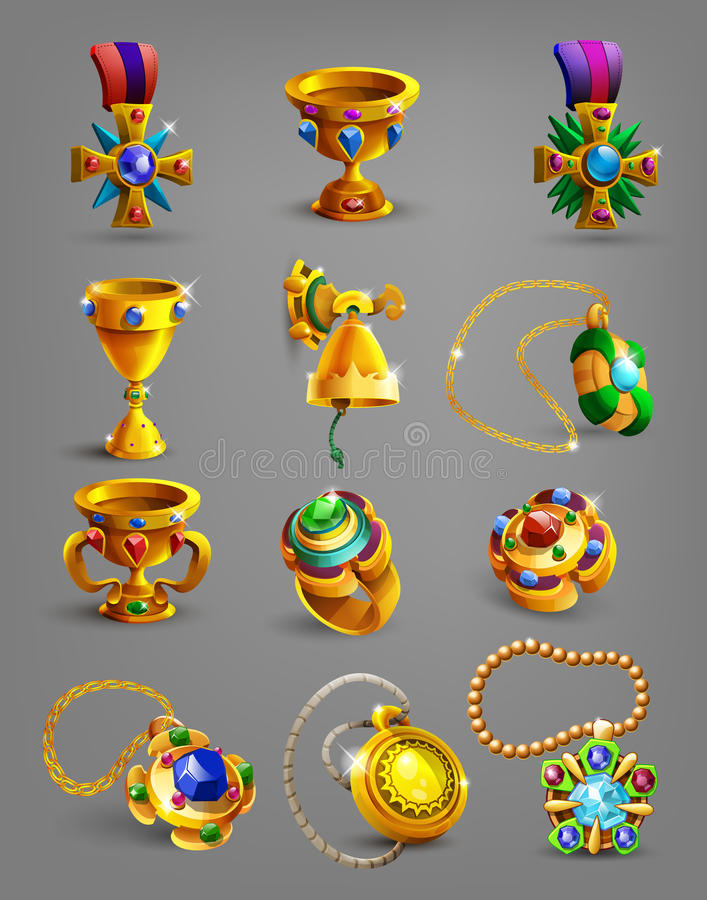 Grupo de recompensa, de tesouro, de realização e de símbolo do ouro ilustração stock
