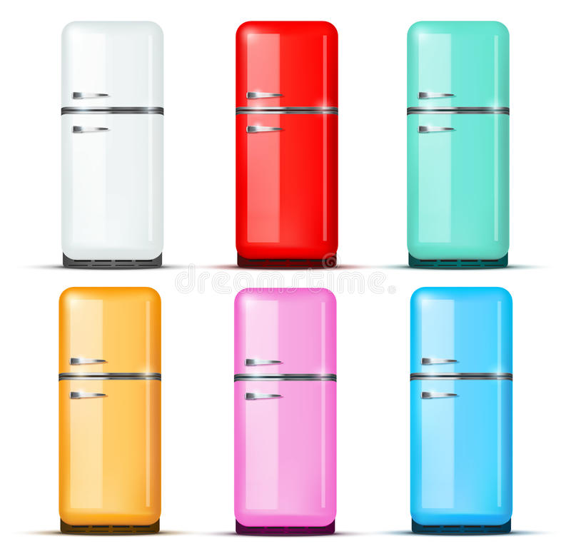 Grupo de refrigerador do refrigerador Vetor isolado sobre ilustração do vetor
