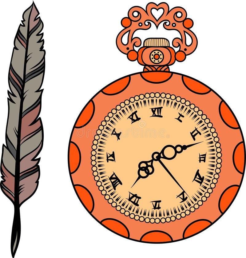 Grupo de relógio e de pena de ouro ilustração stock